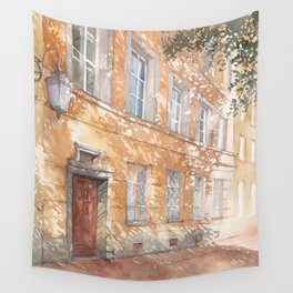 Sunny street watercolor illustration Wall Tapestry