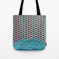 koi Tote Bags featuring Koi by Quick Brown Fox