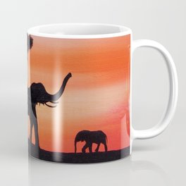 African sunset safari elephant silhouette painting Coffee Mug
