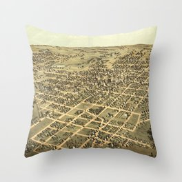 Vintage Pictorial Map of Belleville IL (1867) Throw Pillow
