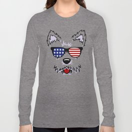 Westie Dog Face with American Flag Sunglasses Long Sleeve T-shirt