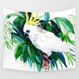 Tropical Jungle, Parrot White Cockatoo and Tropical Foliage Wall Tapestry