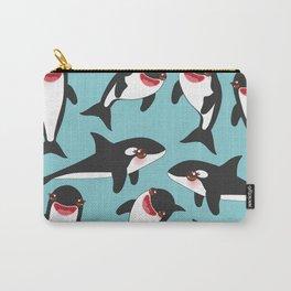 Cartoon grampus orca, Kawaii whale, sea wolf Carry-All Pouch