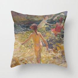 Joaquin Sorolla y Bastida - The Bath, Jávea Throw Pillow