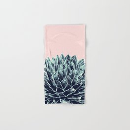 Blush Navy Blue Agave Chic #1 #succulent #decor #art #society6 Hand & Bath Towel
