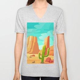 Desert Cactus Landscape, Summer Adventure Prints, Travel Adventure Poster, Southwest Wall Art Unisex V-Neck