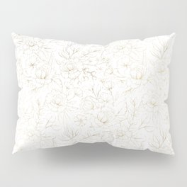 Elegant simple modern faux gold white floral Pillow Sham