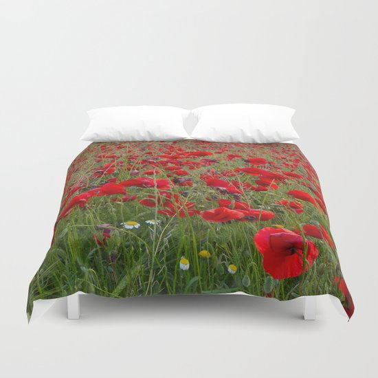 Field of poppies in the lake Duvet Cover