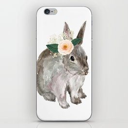 bunny with flower crown iPhone Skin
