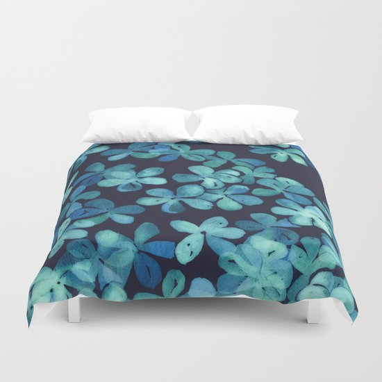 Hand Painted Floral Pattern In Teal Amp Navy Blue Duvet