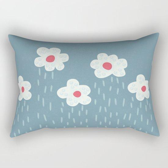 Rainy Flowery Clouds Rectangular Pillow
