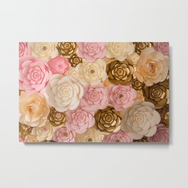 Paper Flowers x Gold Pink Cream Metal Print