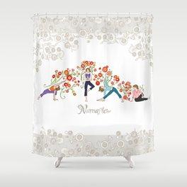 Yoga Girls_Namaste_Poses and Flowers Large scale Shower Curtain