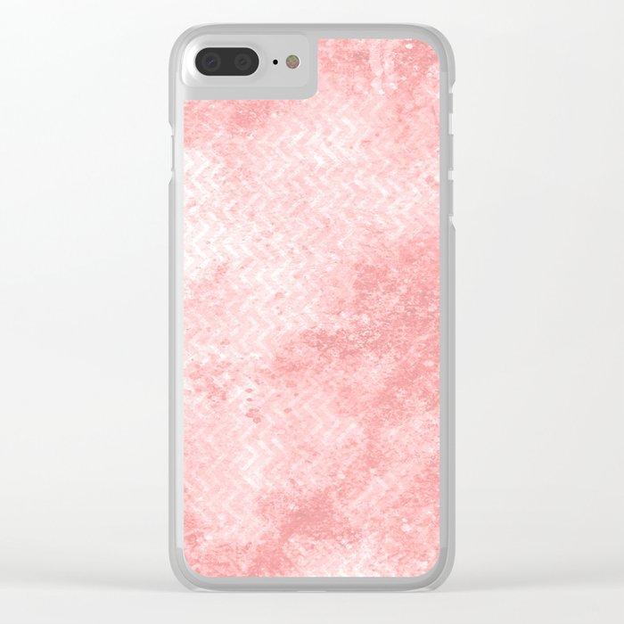 Rose quartz chevron pattern with grunge texture Clear iPhone Case