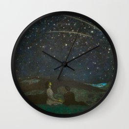 Shooting Stars, Summer Night by the Sea, Watch Hill, Rhode Island landscape by Franz Von Stuck Wall Clock