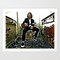 eddie vedder Art Prints featuring Eddie Vedder | Oil Painting by Silvio Ledbetter
