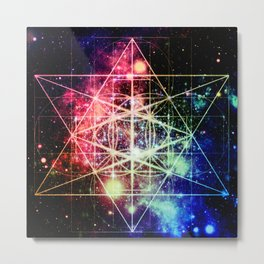 Rainbow Flower of Life : Sacred Geometry Metal Print