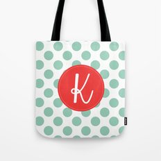 Monogram Initial K Polka Dot Tote Bag