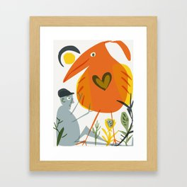kneading bird Framed Art Print