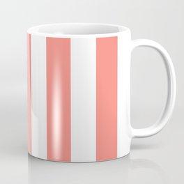 Tea rose pink - solid color - white vertical lines pattern Coffee Mug