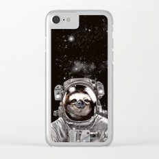 Astronaut Sloth Selfie Clear iPhone Case