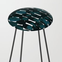 Watercolor Pattern in Teal and Black Counter Stool