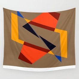 geometric symmetry orange and yellow Wall Tapestry