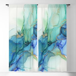 Wavy Blues - Cyan Turquoise Gold Abstract Ink Blackout Curtain