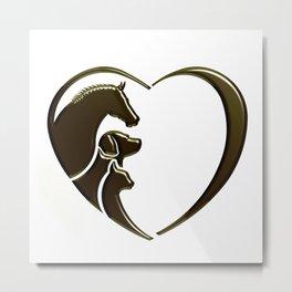 Horse, Dog, Cat Animal Lover Metal Print