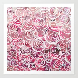Wall of Roses -Dark Pink Art Print
