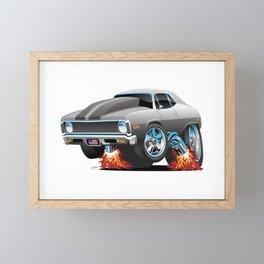 Classic American Muscle Car Hot Rod Cartoon Framed Mini Art Print