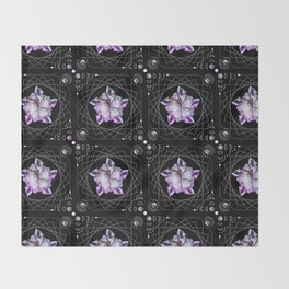 Crystal Totem Line Work Occult Tattoo Style Illustration Throw Blanket