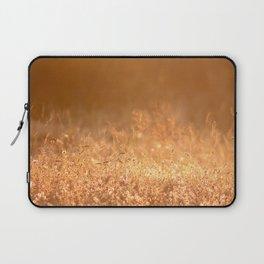 Golden grass field in the summer mountain, sunset wildflowers Laptop Sleeve