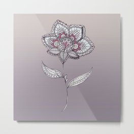 Muted Flower Design Metal Print
