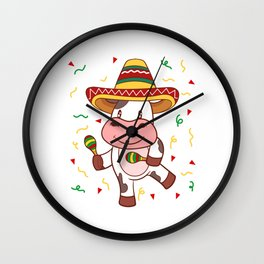 "Mexican themed Top Garment Apparel ""Cow Farm Grill Meat BBQ Brisket"" T-shirt Design Mexico Wall Clock"
