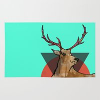 stag Area & Throw Rugs featuring Stag by Hannah Coates