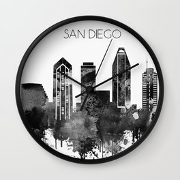 Black and white watercolor San Diego skyline Wall Clock