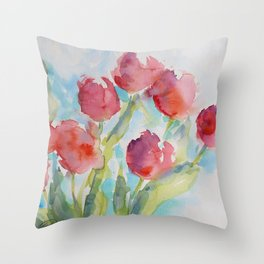 Tulips (watercolor) Throw Pillow