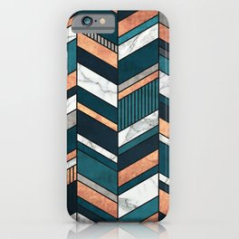 Abstract Chevron Pattern - Copper, Marble, and Blue Concrete iPhone Case