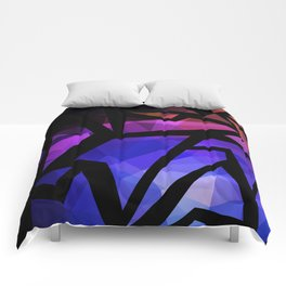 Abstract print of triangles polygon print. Bright dark design colors Comforters