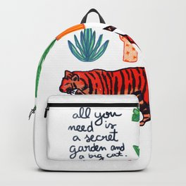 all you need is a secret garden and a big cat Backpack