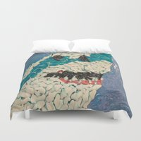 jaws Duvet Covers featuring Jaws by Emily Condie