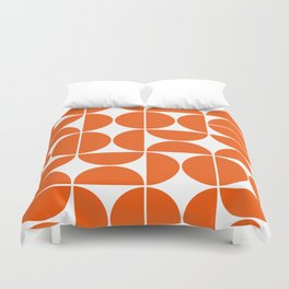 Mid Century Modern Geometric 04 Orange Duvet Cover