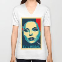 evil queen V-neck T-shirts featuring Evil Queen by Pop Atelier