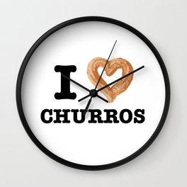 Funny Food I Love Churros Pastry Lover Wall Clock