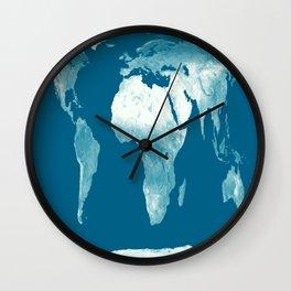 World Map Teal Wall Clock