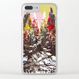 """""""Trees, Mountains, Flowers, Sun Vector Illustration"""" Clear iPhone Case"""