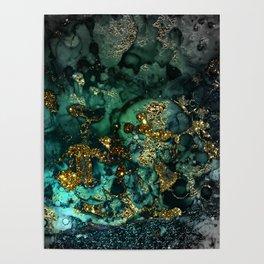 Gold Indigo Malachite Marble Poster