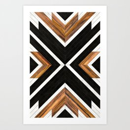 Urban Tribal Pattern 1 - Concrete and Wood Art Print