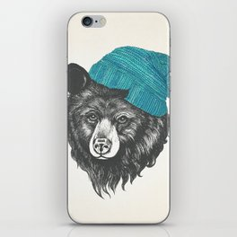 Zissou the bear in blue iPhone Skin
